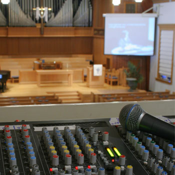 image of an audio sytem at a church